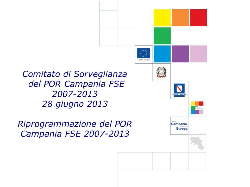Comitato di Sorveglianza del POR Campania FSE 2007-2013 28 giugno 2013 Riprogrammazione del POR Campania FSE 2007-2013