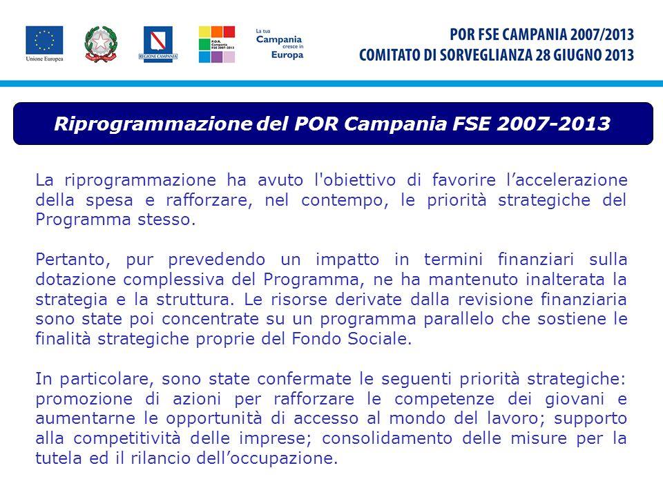 La riprogrammazione ha avuto l'obiettivo di favorire laccelerazione della spesa e rafforzare, nel contempo, le priorità strategiche del Programma stes