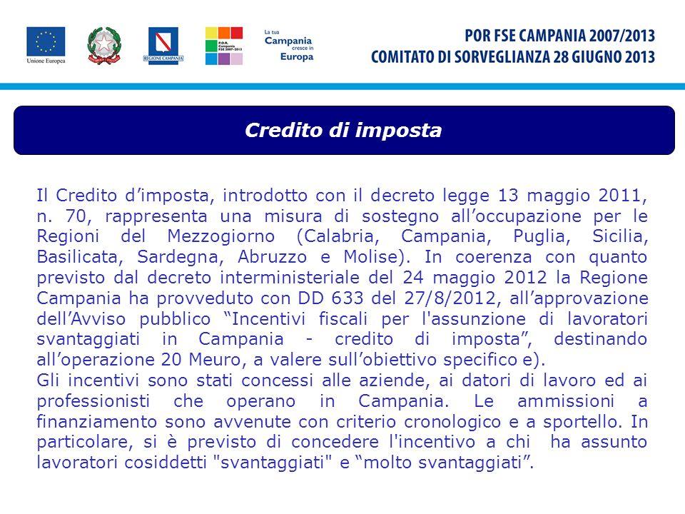 Credito di imposta Il Credito dimposta, introdotto con il decreto legge 13 maggio 2011, n. 70, rappresenta una misura di sostegno alloccupazione per l