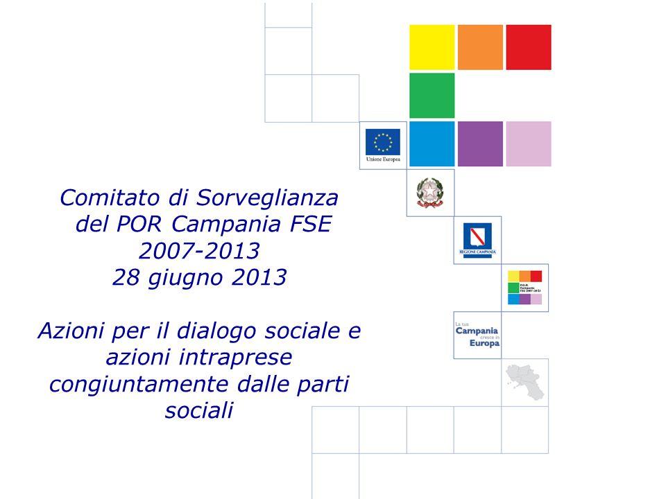 Comitato di Sorveglianza del POR Campania FSE 2007-2013 28 giugno 2013 Azioni per il dialogo sociale e azioni intraprese congiuntamente dalle parti so