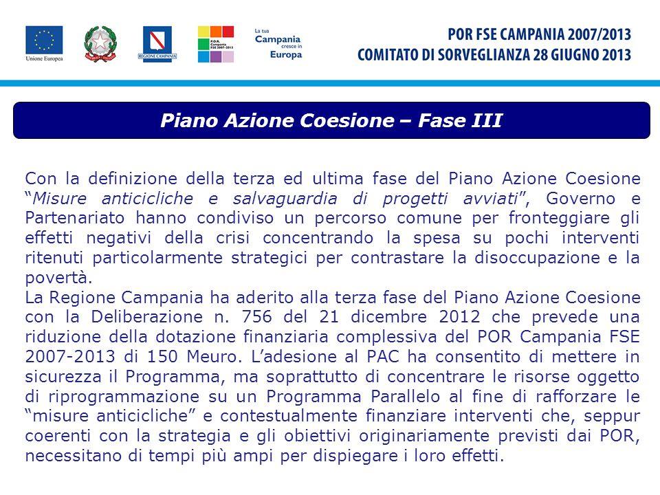 Piano Azione Coesione – Fase III Con la definizione della terza ed ultima fase del Piano Azione CoesioneMisure anticicliche e salvaguardia di progetti