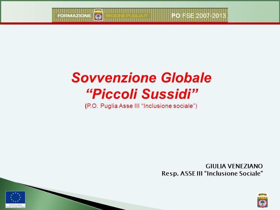Sovvenzione Globale Piccoli Sussidi (P.O. Puglia Asse III Inclusione sociale) GIULIA VENEZIANO Resp. ASSE III Inclusione Sociale PO FSE 2007-2013