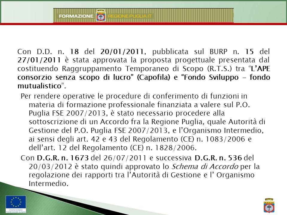 Con D.D. n. 18 del 20/01/2011, pubblicata sul BURP n. 15 del 27/01/2011 è stata approvata la proposta progettuale presentata dal costituendo Raggruppa