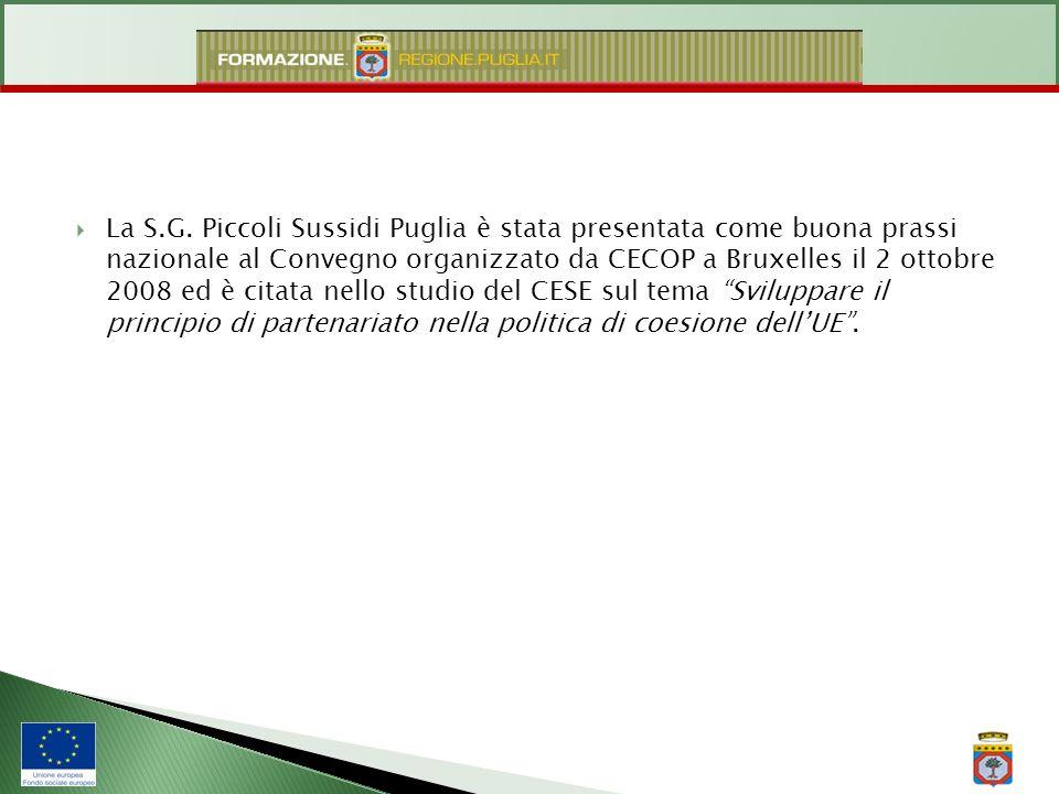 La S.G. Piccoli Sussidi Puglia è stata presentata come buona prassi nazionale al Convegno organizzato da CECOP a Bruxelles il 2 ottobre 2008 ed è cita