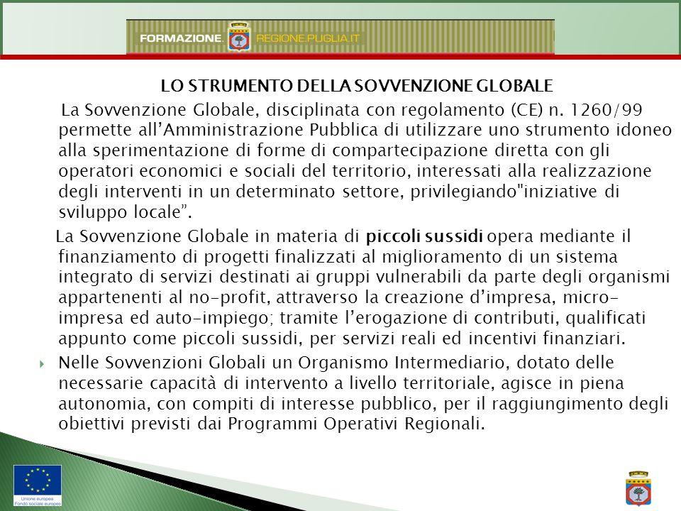 LO STRUMENTO DELLA SOVVENZIONE GLOBALE La Sovvenzione Globale, disciplinata con regolamento (CE) n. 1260/99 permette allAmministrazione Pubblica di ut