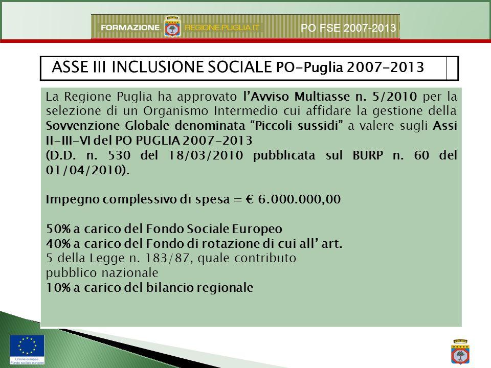 PO FSE 2007-2013 La Regione Puglia ha approvato lAvviso Multiasse n. 5/2010 per la selezione di un Organismo Intermedio cui affidare la gestione della