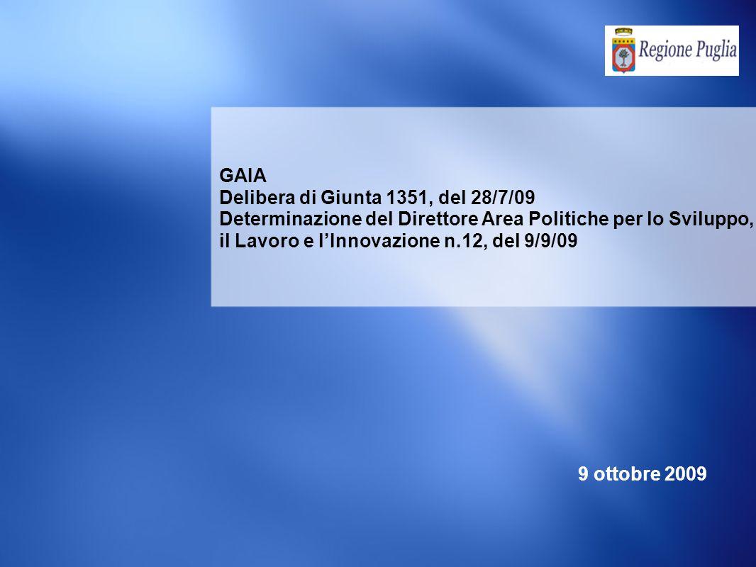 GAIA Delibera di Giunta 1351, del 28/7/09 Determinazione del Direttore Area Politiche per lo Sviluppo, il Lavoro e lInnovazione n.12, del 9/9/09 9 ottobre 2009