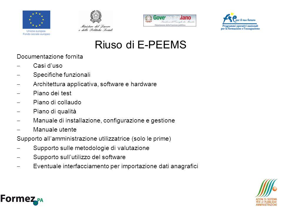 Riuso di E-PEEMS Documentazione fornita Casi duso Specifiche funzionali Architettura applicativa, software e hardware Piano dei test Piano di collaudo