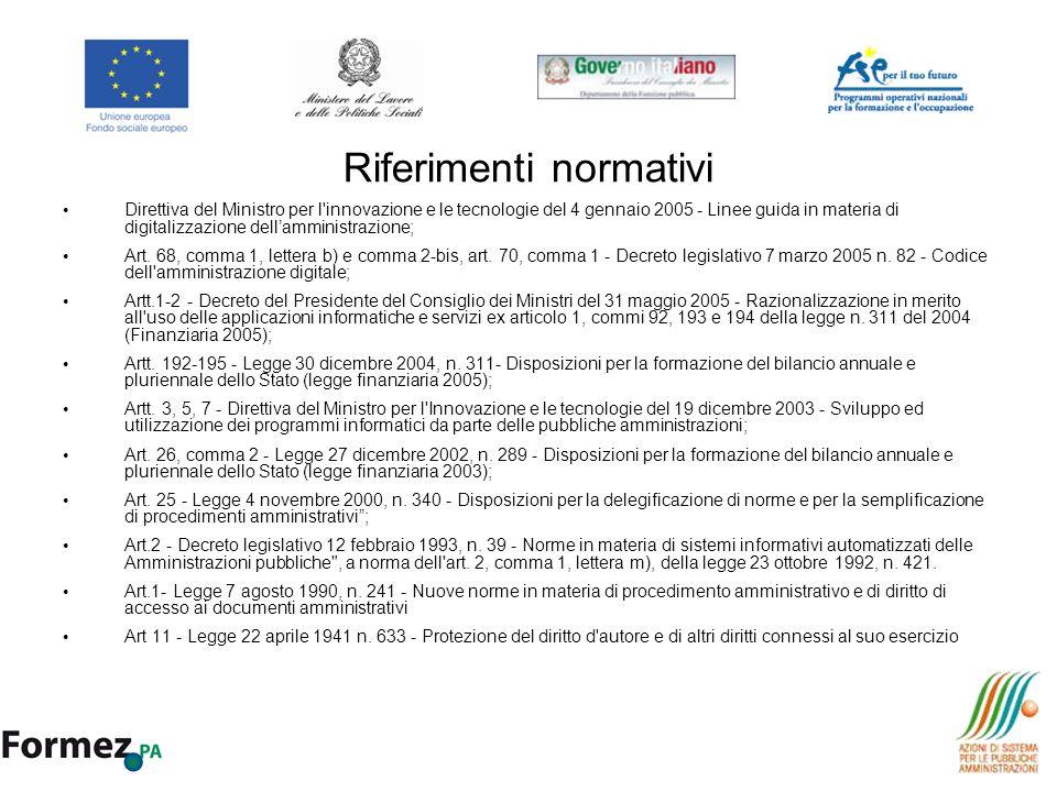 Riferimenti normativi Direttiva del Ministro per l'innovazione e le tecnologie del 4 gennaio 2005 - Linee guida in materia di digitalizzazione dellamm