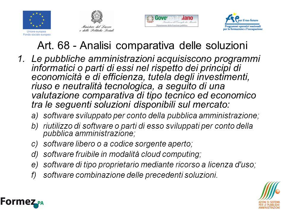 Art. 68 - Analisi comparativa delle soluzioni 1.Le pubbliche amministrazioni acquisiscono programmi informatici o parti di essi nel rispetto dei princ