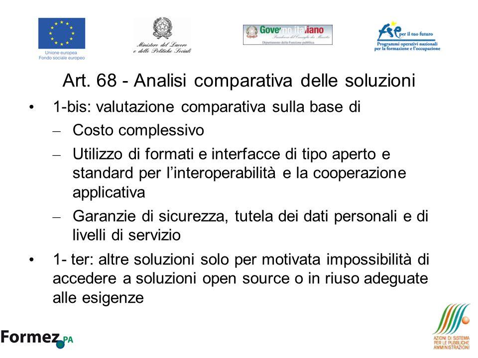 Art. 68 - Analisi comparativa delle soluzioni 1-bis: valutazione comparativa sulla base di – Costo complessivo – Utilizzo di formati e interfacce di t