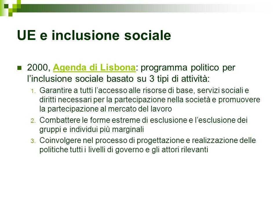 UE e inclusione sociale 2000, Agenda di Lisbona: programma politico per linclusione sociale basato su 3 tipi di attività: 1. Garantire a tutti laccess