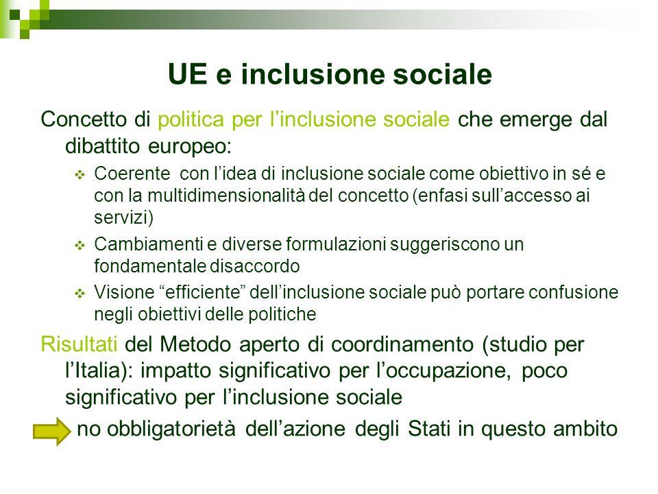 UE e inclusione sociale Concetto di politica per linclusione sociale che emerge dal dibattito europeo: Coerente con lidea di inclusione sociale come o