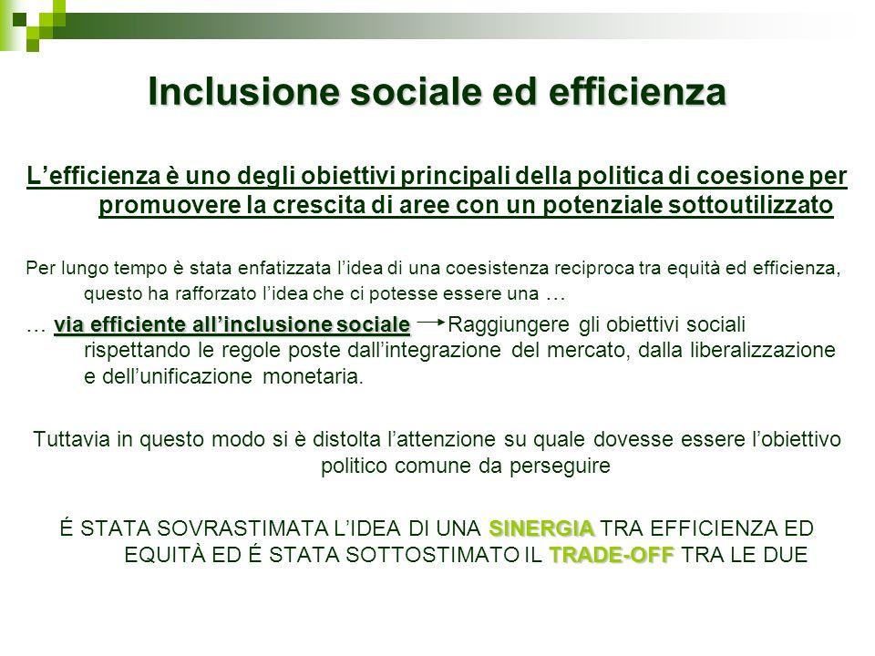Inclusione sociale ed efficienza Lefficienza è uno degli obiettivi principali della politica di coesione per promuovere la crescita di aree con un pot