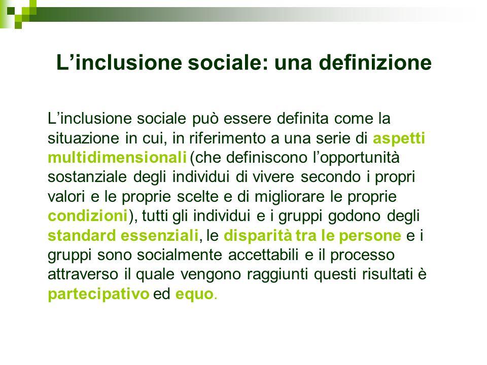 Linclusione sociale: una definizione Linclusione sociale può essere definita come la situazione in cui, in riferimento a una serie di aspetti multidim