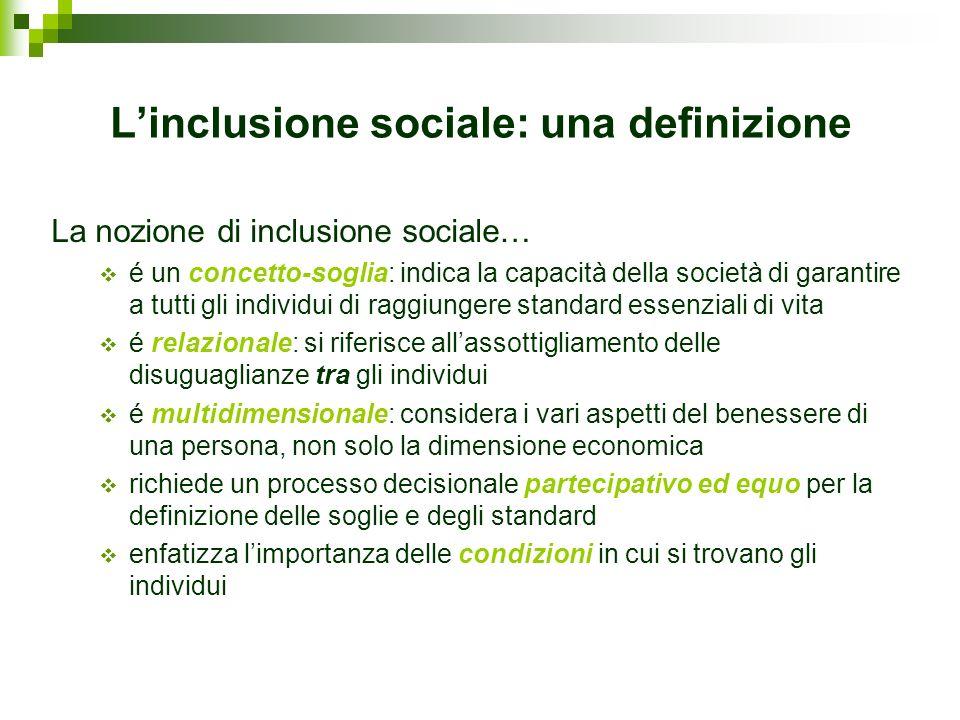 Linclusione sociale: una definizione La nozione di inclusione sociale… é un concetto-soglia: indica la capacità della società di garantire a tutti gli