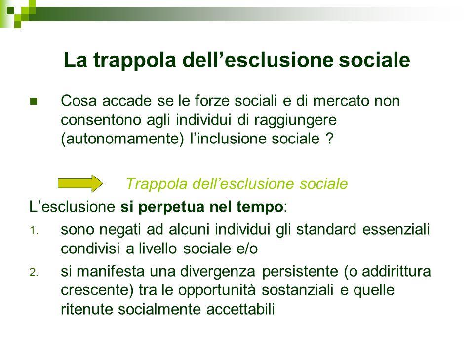 La trappola dellesclusione sociale Cosa accade se le forze sociali e di mercato non consentono agli individui di raggiungere (autonomamente) linclusio