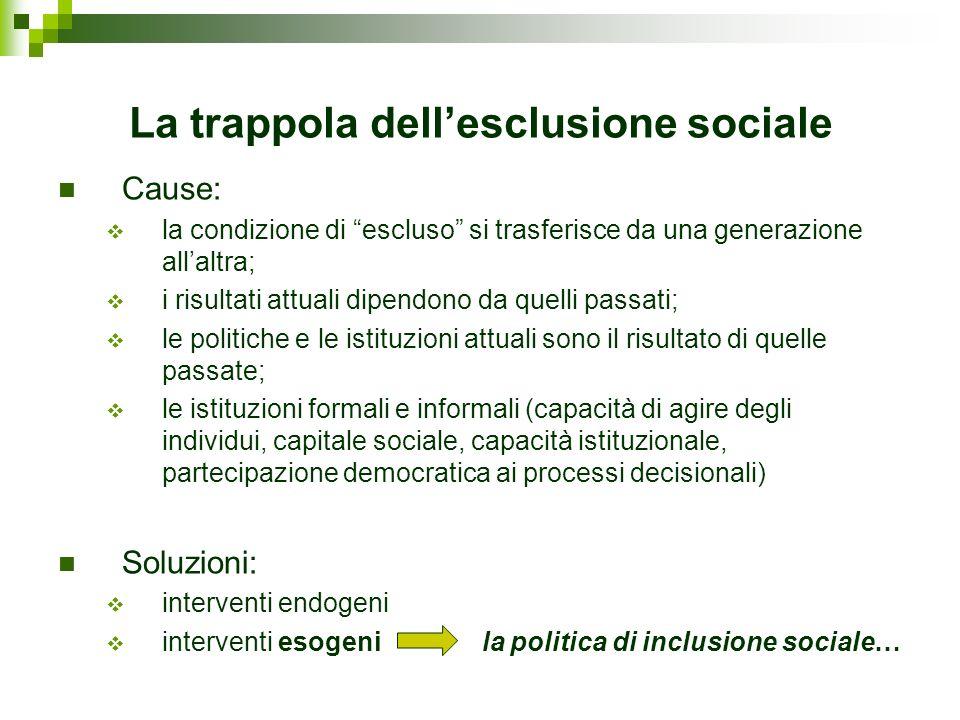 La trappola dellesclusione sociale Cause: la condizione di escluso si trasferisce da una generazione allaltra; i risultati attuali dipendono da quelli