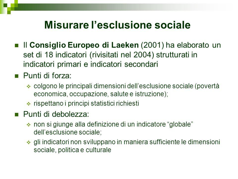 Misurare lesclusione sociale Il Consiglio Europeo di Laeken (2001) ha elaborato un set di 18 indicatori (rivisitati nel 2004) strutturati in indicator