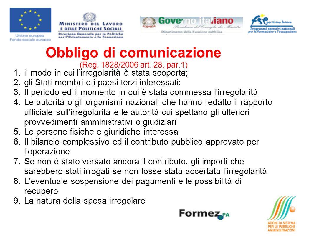 Obbligo di comunicazione (Reg. 1828/2006 art.