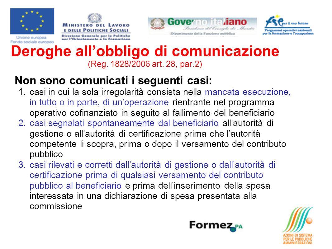 Deroghe allobbligo di comunicazione (Reg.1828/2006 art.