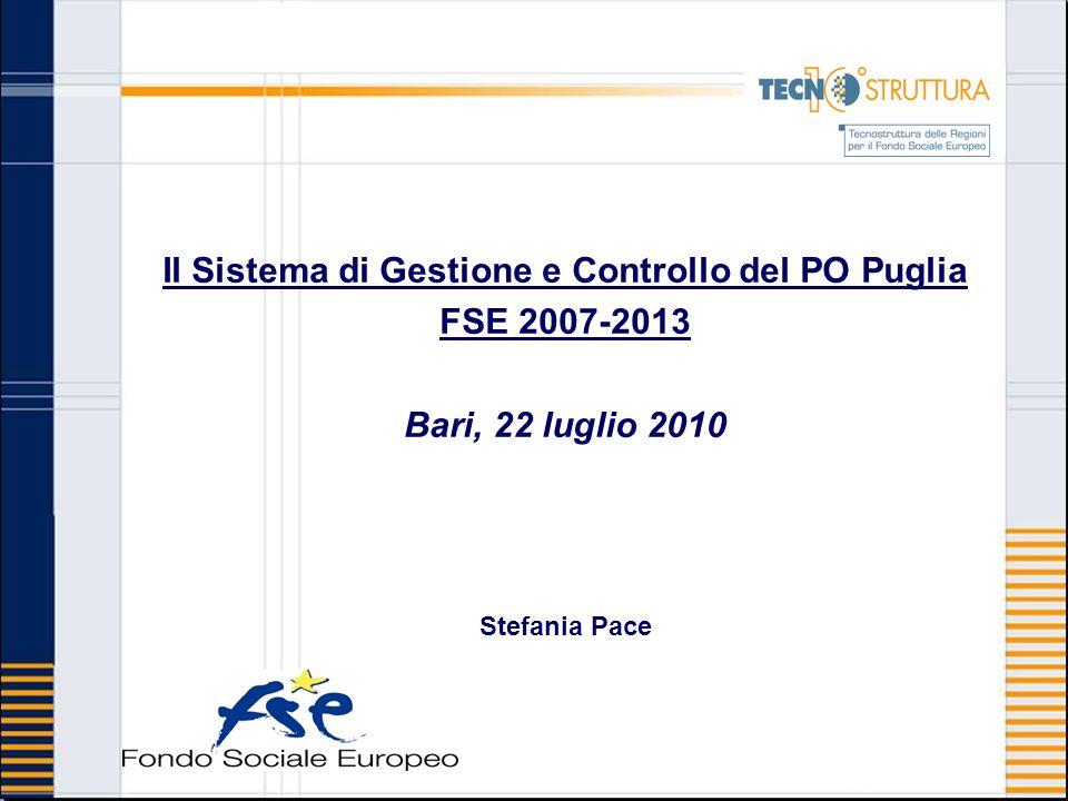 Il Sistema di Gestione e Controllo del PO Puglia FSE 2007-2013 Bari, 22 luglio 2010 Stefania Pace