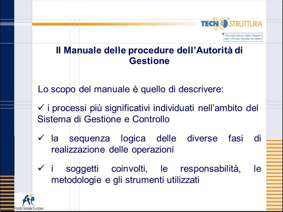 Il Manuale delle procedure dellAutorità di Gestione Lo scopo del manuale è quello di descrivere: i processi più significativi individuati nellambito d