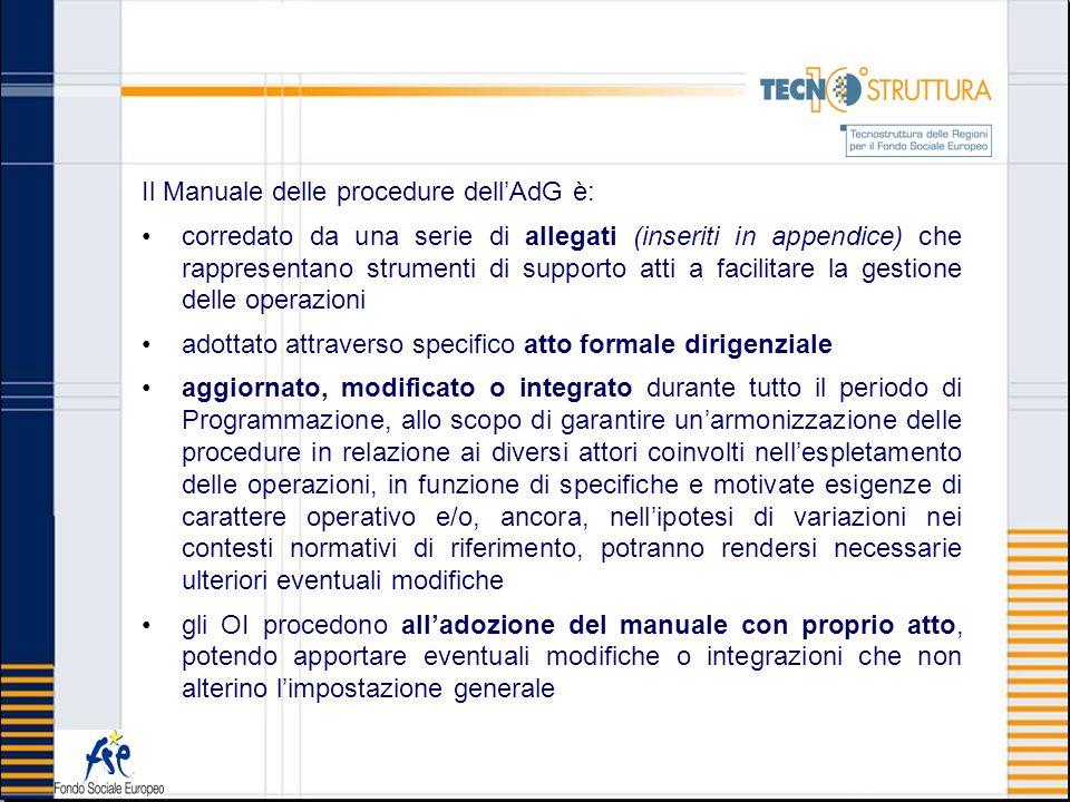 Il Manuale delle procedure dellAdG è: corredato da una serie di allegati (inseriti in appendice) che rappresentano strumenti di supporto atti a facili