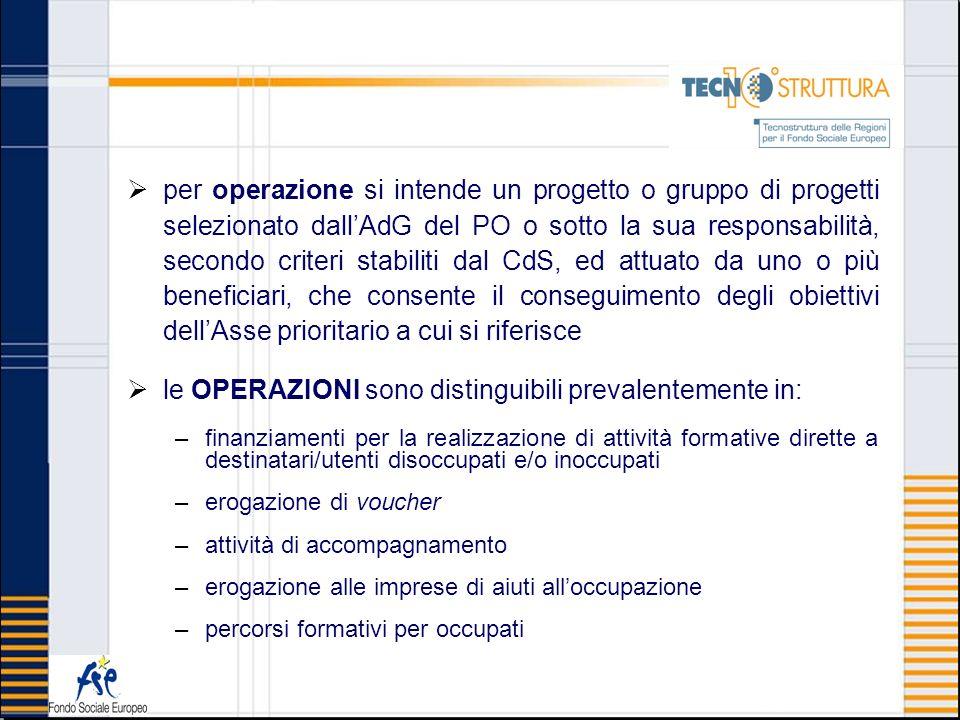 per operazione si intende un progetto o gruppo di progetti selezionato dallAdG del PO o sotto la sua responsabilità, secondo criteri stabiliti dal CdS