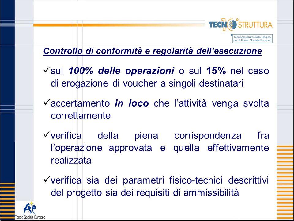 Controllo di conformità e regolarità dellesecuzione sul 100% delle operazioni o sul 15% nel caso di erogazione di voucher a singoli destinatari accert