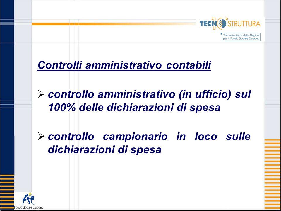 Controlli amministrativo contabili controllo amministrativo (in ufficio) sul 100% delle dichiarazioni di spesa controllo campionario in loco sulle dic
