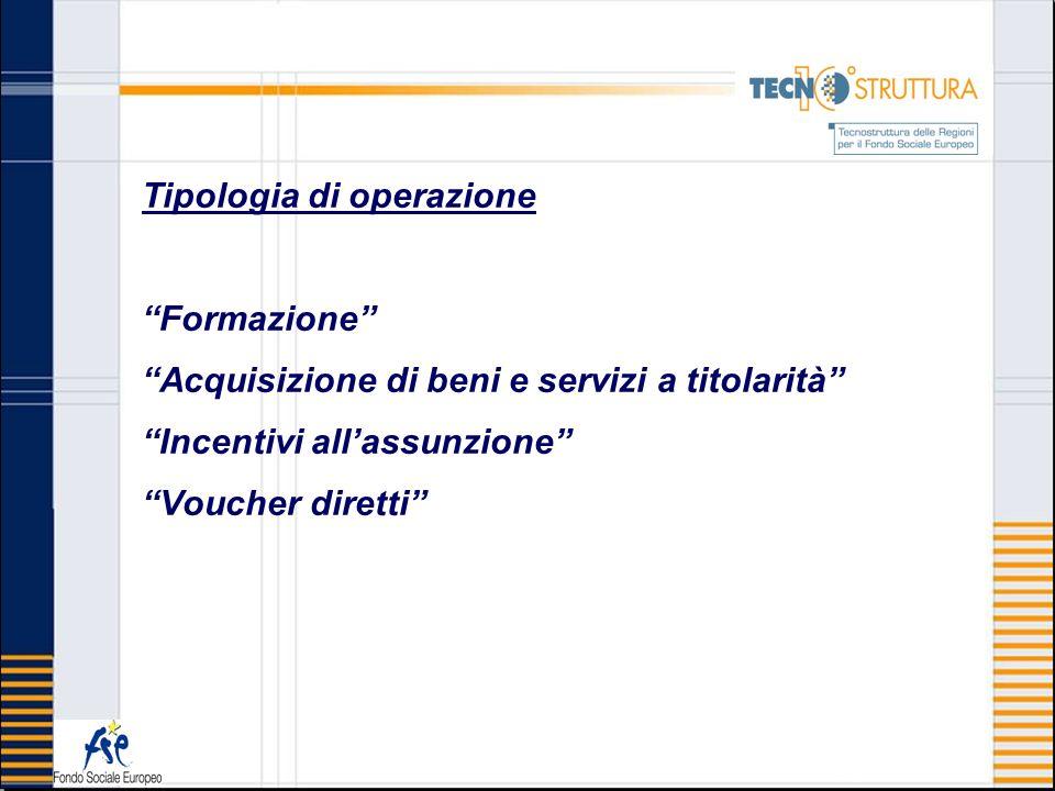 Tipologia di operazione Formazione Acquisizione di beni e servizi a titolarità Incentivi allassunzione Voucher diretti
