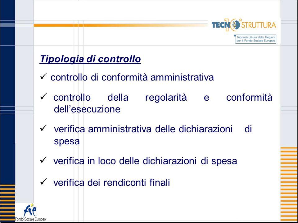 Tipologia di controllo controllo di conformità amministrativa controllo della regolarità e conformità dellesecuzione verifica amministrativa delle dic