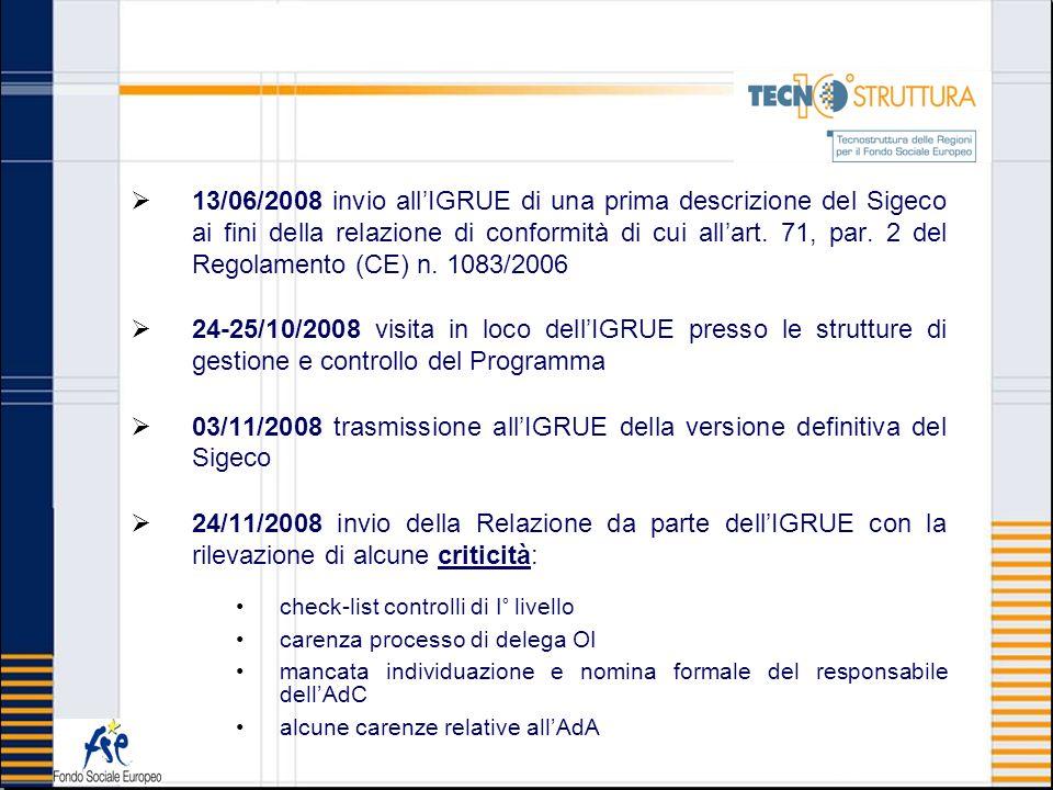 23/07/2009 invio allIGRUE di una nuova versione con il superamento delle criticità rilevate precedentemente 23/02/2010 invio della versione definitiva a seguito della formalizzazione di tutta la manualistica di riferimento nonché della struttura organizzativa dell AdG, AdA e AdC 04/03/2010 esame Sigeco da parte dellIGRUE ed invio della Relazione sulla conformità del Sistema ed inserimento sul sistema SFC 05/05/2010 i Servizi della Commissione Europea hanno ritenuto il Sigeco accettato ai sensi dellart.