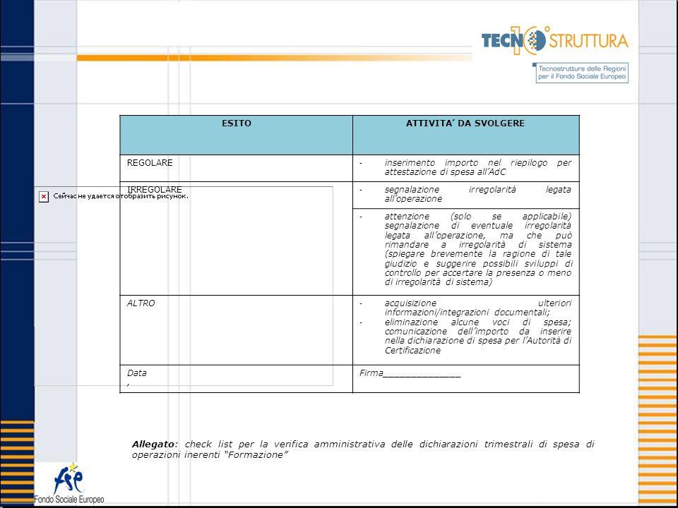 Allegato: check list per la verifica amministrativa delle dichiarazioni trimestrali di spesa di operazioni inerenti Formazione ESITOATTIVITA DA SVOLGE