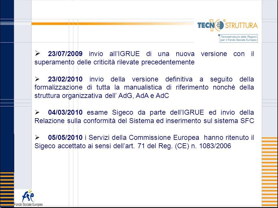 23/07/2009 invio allIGRUE di una nuova versione con il superamento delle criticità rilevate precedentemente 23/02/2010 invio della versione definitiva