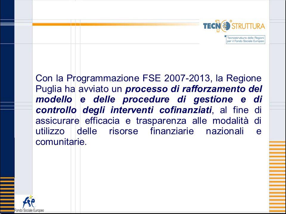 Con la Programmazione FSE 2007-2013, la Regione Puglia ha avviato un processo di rafforzamento del modello e delle procedure di gestione e di controll