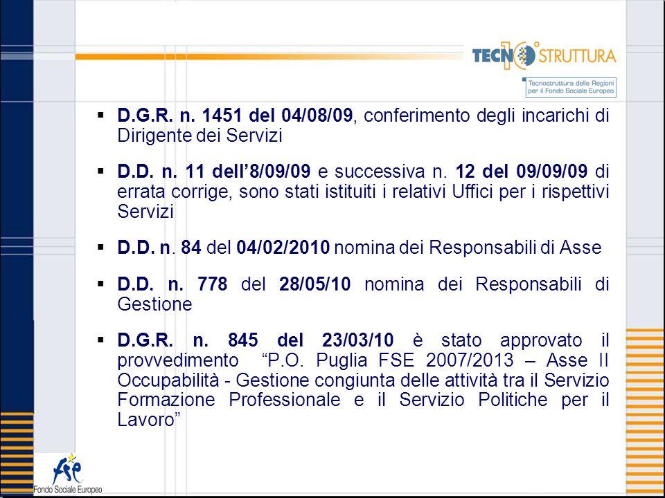 D.G.R. n. 1451 del 04/08/09, conferimento degli incarichi di Dirigente dei Servizi D.D. n. 11 dell8/09/09 e successiva n. 12 del 09/09/09 di errata co
