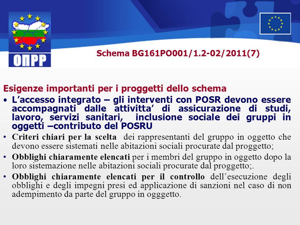 Schema BG161PO001/1.2-02/2011(7) Esigenze importanti per i proggetti dello schema Laccesso integrato – gli interventi con POSR devono essere accompagn