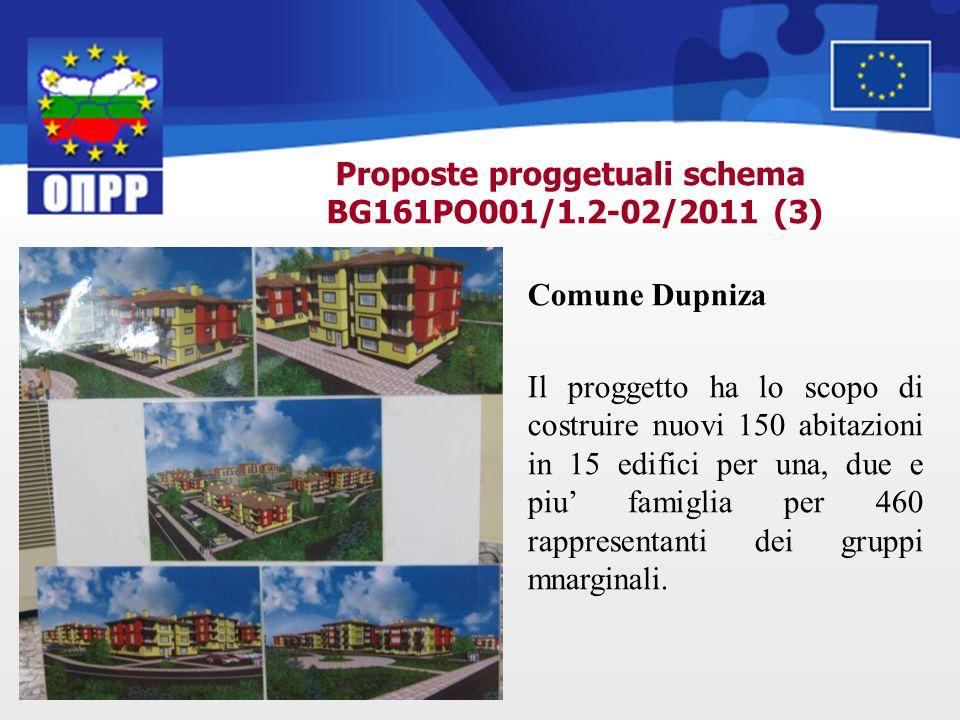 Proposte proggetuali schema BG161PO001/1.2-02/2011 (3) Comune Dupniza Il proggetto ha lo scopo di costruire nuovi 150 abitazioni in 15 edifici per una