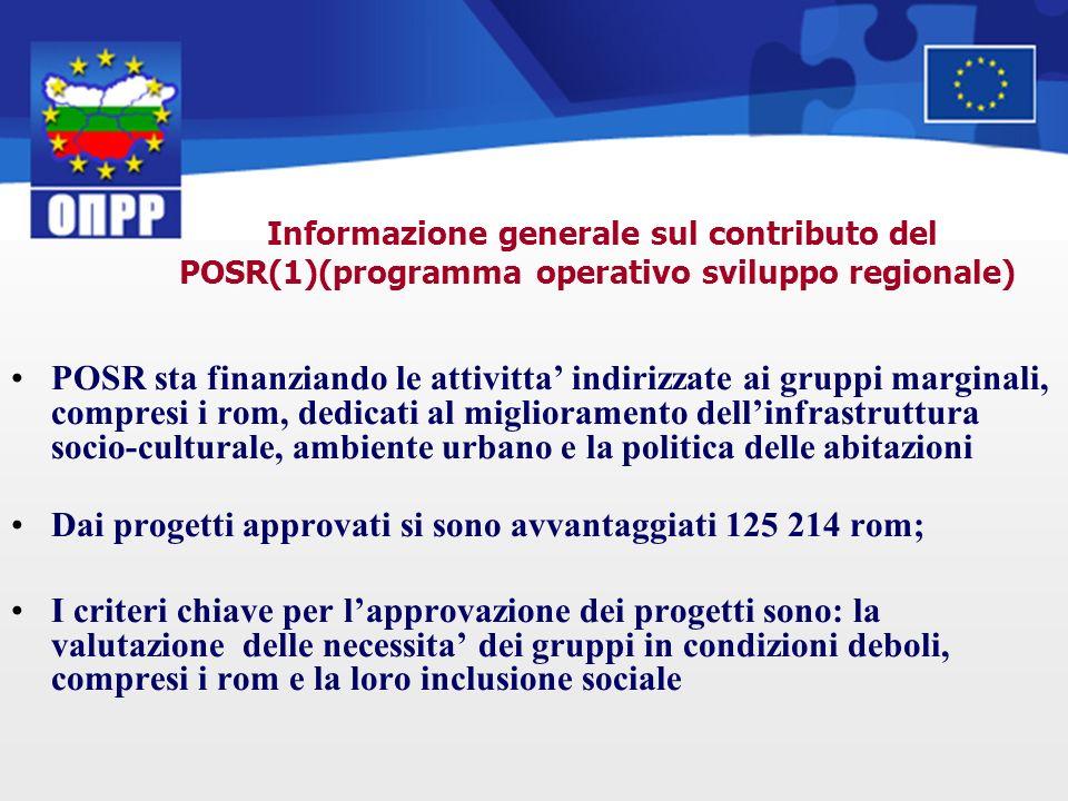 POSR sta finanziando le attivitta indirizzate ai gruppi marginali, compresi i rom, dedicati al miglioramento dellinfrastruttura socio-culturale, ambie