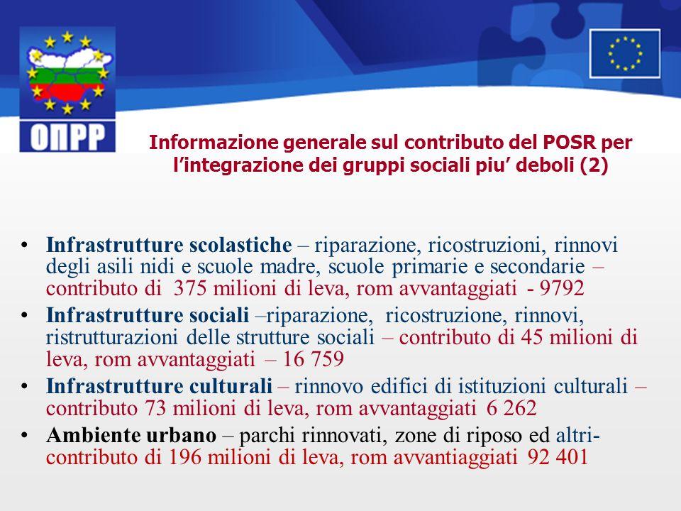 Informazione generale sul contributo del POSR per lintegrazione dei gruppi sociali piu deboli (2) Infrastrutture scolastiche – riparazione, ricostruzi