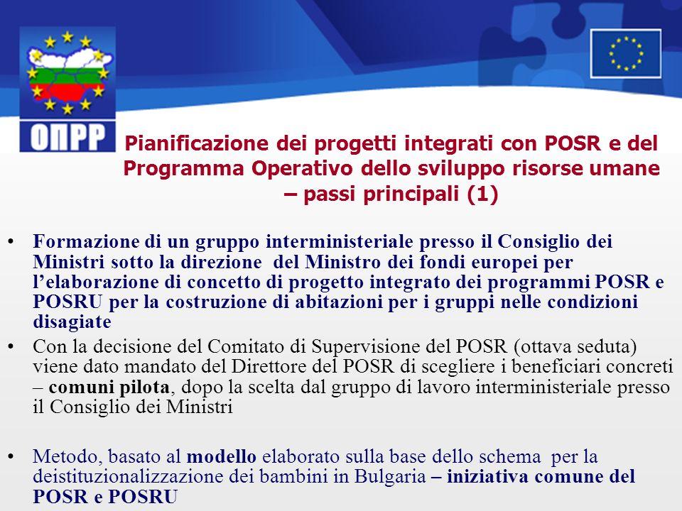 Pianificazione dei progetti integrati con POSR e del Programma Operativo dello sviluppo risorse umane – passi principali (1) Formazione di un gruppo i
