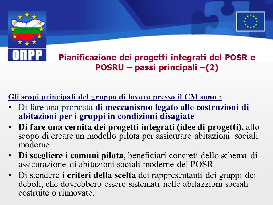 Pianificazione dei progetti integrati del POSR e POSRU – passi principali –(2) Gli scopi principali del gruppo di lavoro presso il CM sono : Di fare u