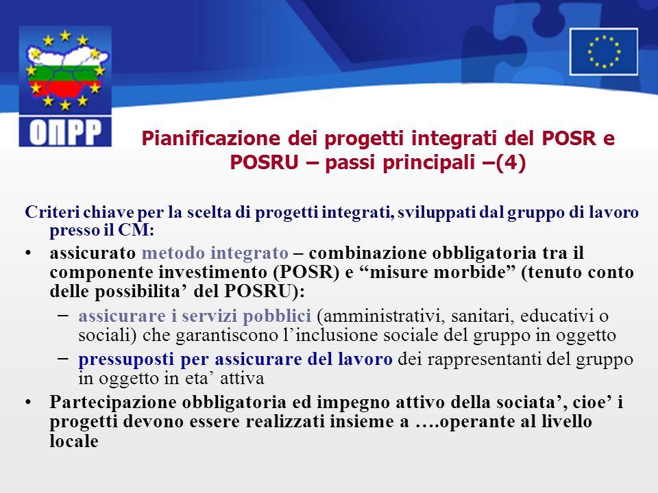 Pianificazione dei progetti integrati del POSR e POSRU – passi principali –(4) Criteri chiave per la scelta di progetti integrati, sviluppati dal grup