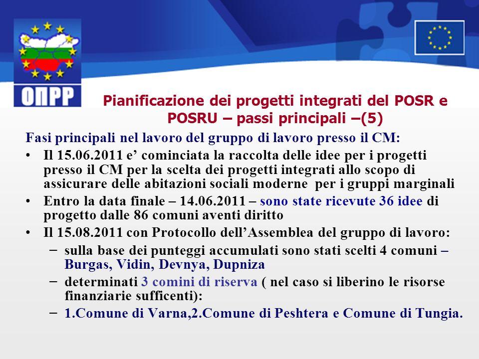 Pianificazione dei progetti integrati del POSR e POSRU – passi principali –(5) Fasi principali nel lavoro del gruppo di lavoro presso il CM: Il 15.06.