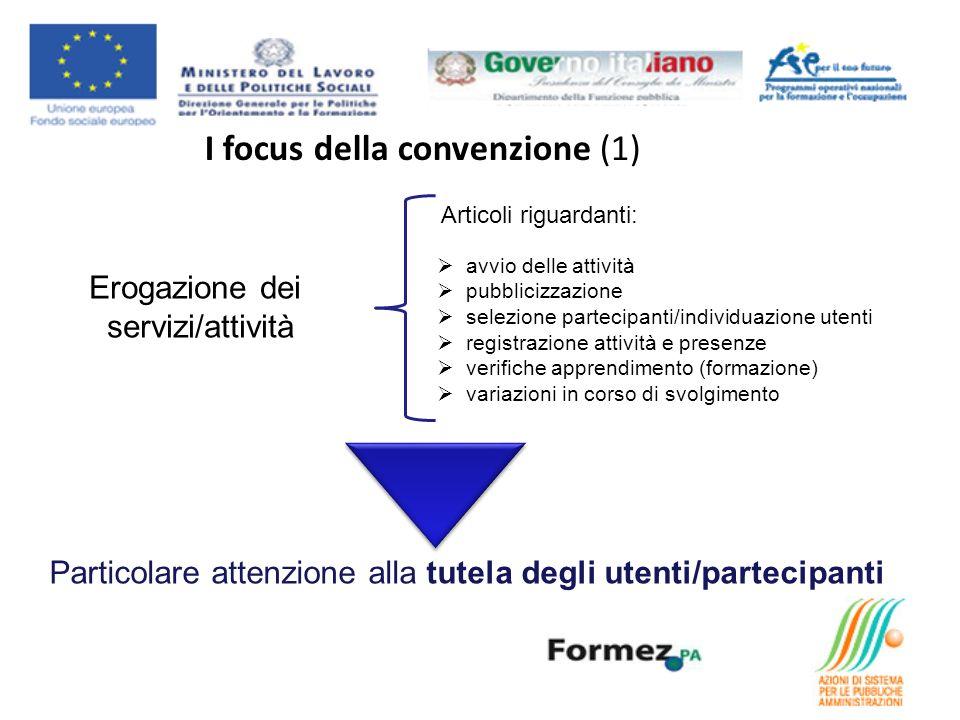 I focus della convenzione (1) Erogazione dei servizi/attività Articoli riguardanti: avvio delle attività pubblicizzazione selezione partecipanti/indiv