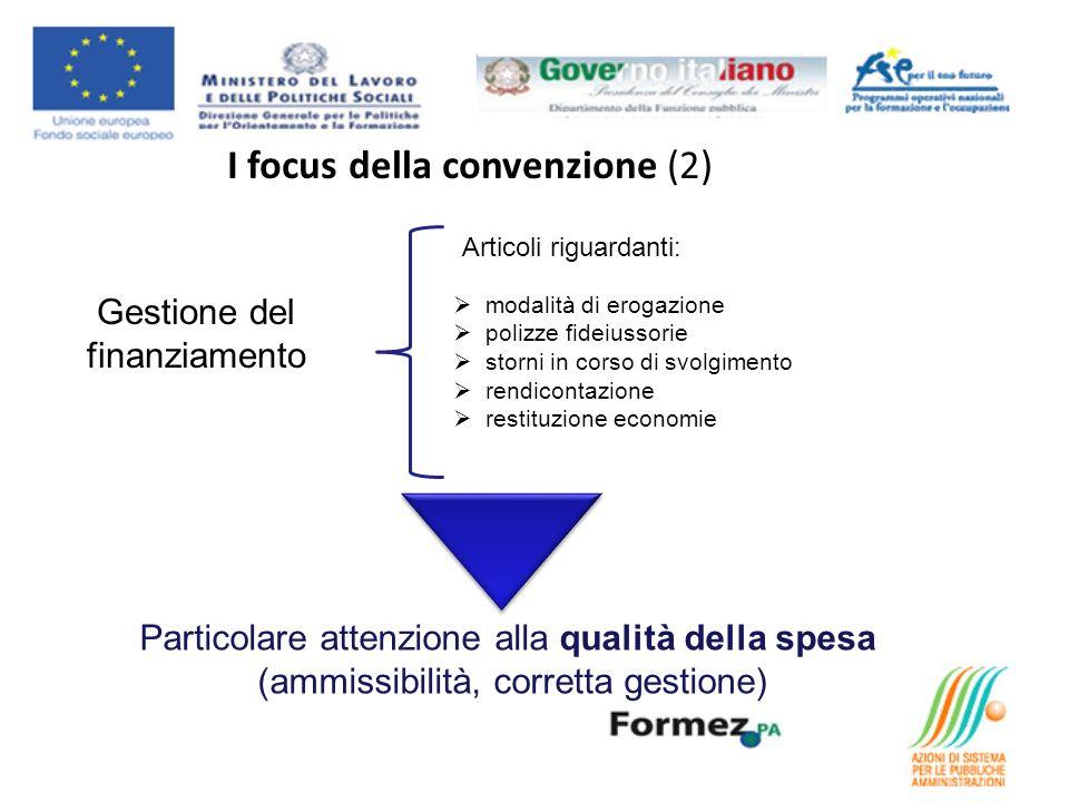I focus della convenzione (2) Gestione del finanziamento Articoli riguardanti: modalità di erogazione polizze fideiussorie storni in corso di svolgime