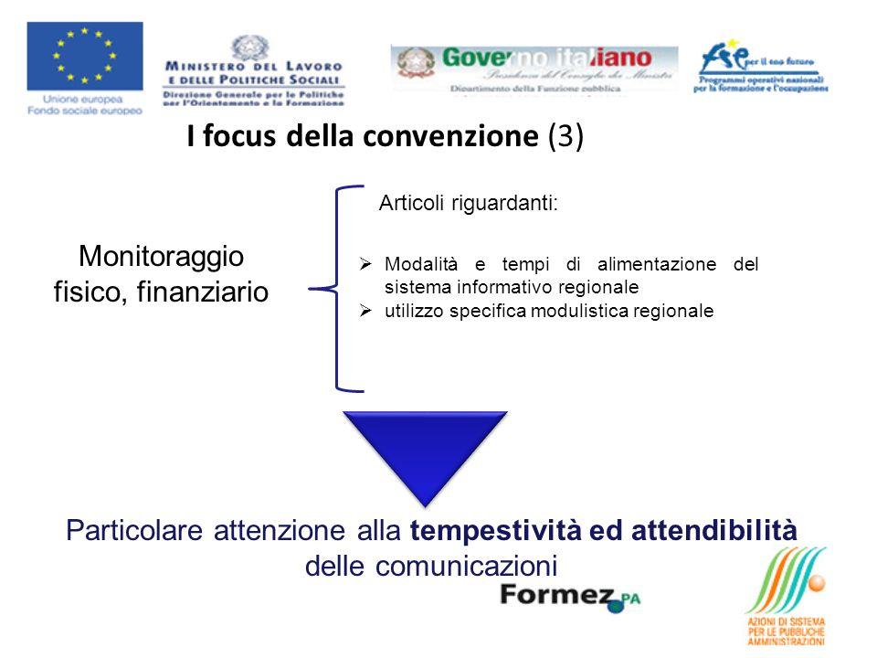 I focus della convenzione (3) Monitoraggio fisico, finanziario Articoli riguardanti: Modalità e tempi di alimentazione del sistema informativo regionale utilizzo specifica modulistica regionale Particolare attenzione alla tempestività ed attendibilità delle comunicazioni
