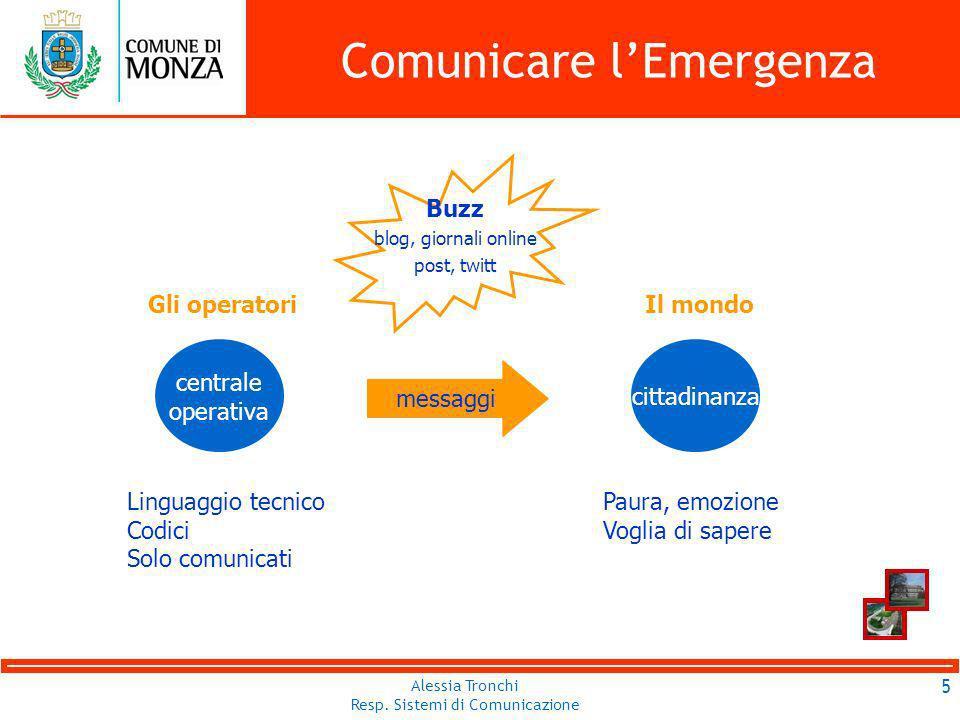 Alessia Tronchi Resp.Sistemi di Comunicazione Comunicare lEmergenza 16 Alessia Tronchi Resp.